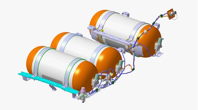 수소연료탱크. 강철보다 강도(파열저항)는 6배, 강성(변형저항)은 4배 높은 탄소섬유강화 플라스틱으로 외피가 구성돼 있다. ⓒ현대자동차