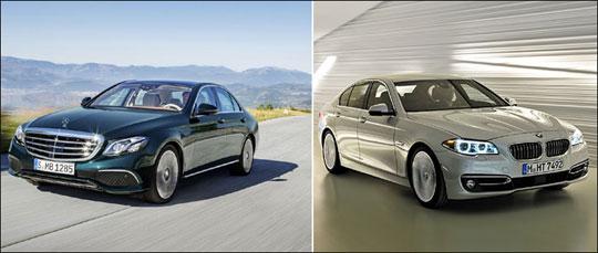 메르세데스 벤츠 E클래스(왼쪽), BMW 5시리즈.ⓒ메르세데스 벤츠 코리아/BMW 코리아