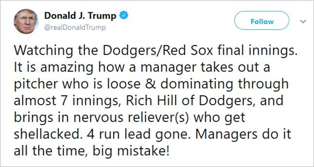 트위터 통해 로버츠 감독의 투수 운용 지적한 트럼프 대통령. 트럼프 대통령 트위터 캡처