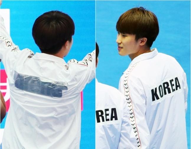[광주세계수영선수권대회] A사 브랜드 가리기 위해 붙인 테이프(왼쪽). 태극마크와 같은