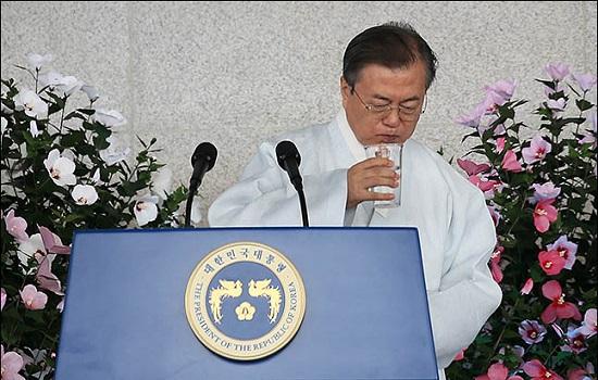 문재인 대통령이 지난 15일 충남 천안 독립기념관에서 열린