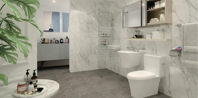 홈씨씨인테리어의 이지패널 패키지로 리모델링한 욕실.ⓒKCC