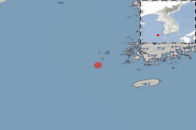 22일 오전 11시7분27초 전남 신안군 흑산도 남남서쪽 62km 해역에서 규모 3.3의 지진이 발생했다.ⓒ기상청