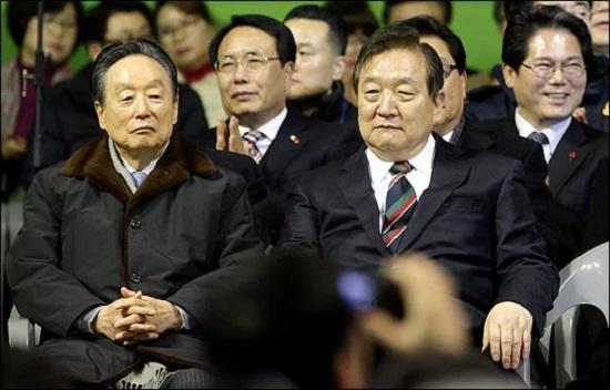 지난 2016년 대전시 한밭체육관에서 열린 국민의당 창당대회에 참석한 권노갑·정대철 상임고문.(자료사진) ⓒ데일리안 박항구 기자