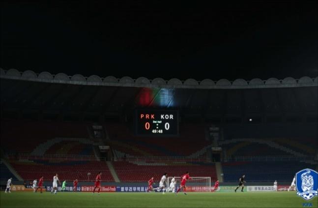 북한축구협회 홈경기 운영은 FIFA 윤리 강령과 AFC 경기운영 매뉴얼 내용과 거리가 먼 비상식 그 자체였다. ⓒ 대한축구협회