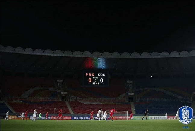 지난 15일 오후 북한 평양 김일성 경기장에서 월드컵 아시아지역 2차 예선 H조 3차전 대한민국과 북한 경기가 열리고 있다. ⓒ대한축구협회