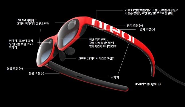 LG유플러스 AR글래스 '엔리얼 라이트(Nreal Light)' 제품 세부 사양.ⓒLG유플러스