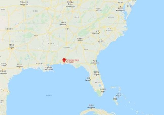 6일(현지시간) 총격 사건이 발생한 미국 플로리다주 펜서콜라 미 해군 항공 기지. 구글맵스 캡처ⓒ