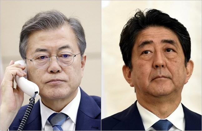 문재인 대통령과 아베 신조 일본 총리.ⓒ청와대·BBC방송캡쳐