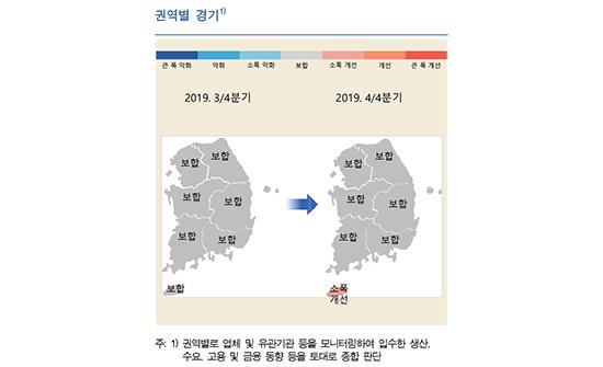 우리나라 권역별 경기 추이 개요도.ⓒ한국은행