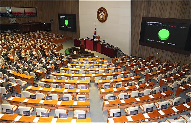 9일 오후 열린 국회 본회의에서 자유한국당이 불참한 가운데  여야 4+1 협의체(민주당·바른미래당·정의당·민주평화당+대안신당) 소속 의원들이 민생법안들을 처리하고 있다. ⓒ데일리안 박항구 기자