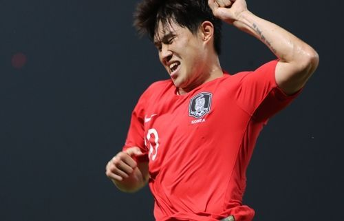 이동경이 19일 오후(현지시각) 태국 랑싯 탐마삿 스타디움에서 열린 2020 아시아축구연맹(AFC) U-23 챔피언십 한국과 요르단의 8강전서 후반 추가시간 극적인 결승골을 넣은 뒤 환호하고 있다. ⓒ 연합뉴스