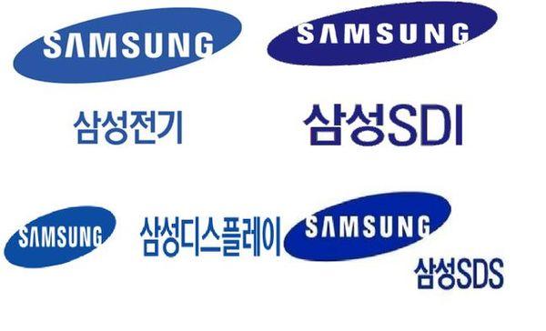 왼쪽 위부터 삼성전기, 삼성SDI, 삼성SDS, 삼성디스플레이 로고.ⓒ각 사