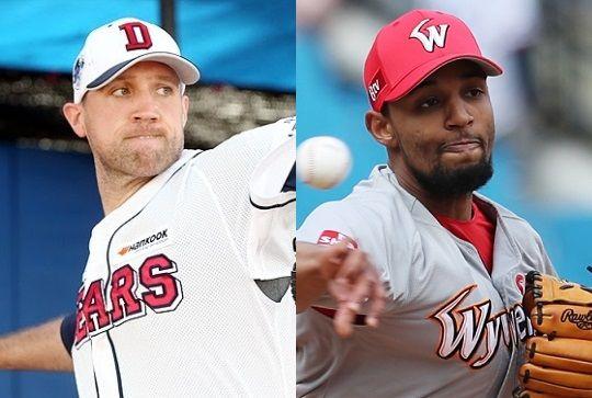 2019시즌 종료 뒤 이적한 린드블럼(좌)과 산체스. ⓒ두산 베어스/SK 와이번스