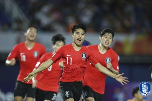 세계 최초로 9회 연속 올림픽 본선 진출이라는 쾌거를 이룬 한국 남자축구. ⓒ 대한축구협회