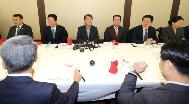 안철수 전 바른미래당 대표가 28일 오후 서울 여의도의 한 식당에서 당 소속 의원들과 오찬간담회를 하고 있다.ⓒ데일리안 박항구 기자