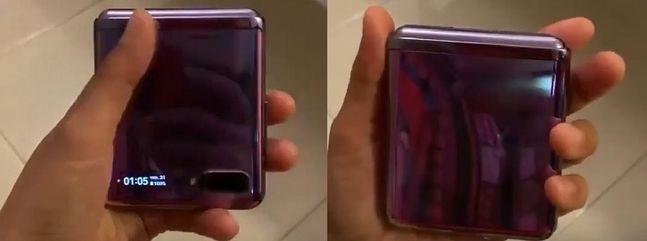 삼성전자 폴더블 스마트폰 '갤럭시Z 플립' 제품이 실제 구동되는 것으로 추정되는 모습. 벤 개스킨(Ben Geskin) 트위터 동영상 캡처