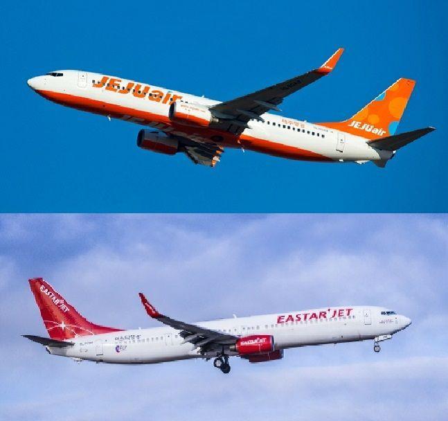 제주항공(위)과 이스타항공 항공기.ⓒ각사
