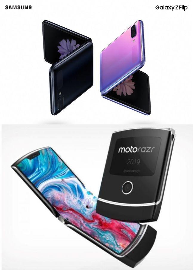 삼성전자 폴더블 스마트폰 '갤럭시Z 플립'(위쪽)과 모토로라 폴더블 스마트폰 '레이저'.ⓒ각사
