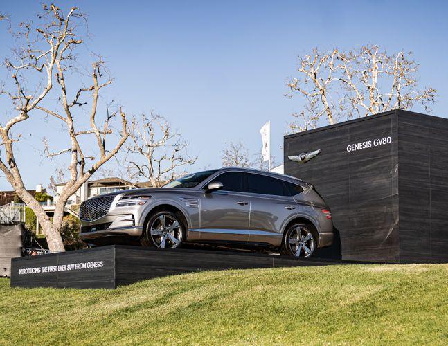 '2020 제네시스 인비테이셔널'이 개최되는 리비에라 컨트리클럽에 GV80 차량이 전시된 모습.ⓒ현대차