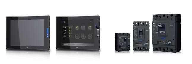 LS산전 자동화 핵심 제품 iXP2(왼쪽)와 차세대 전력 솔루션 수솔 스마트 배선용차단기(MCCB).ⓒLS산전