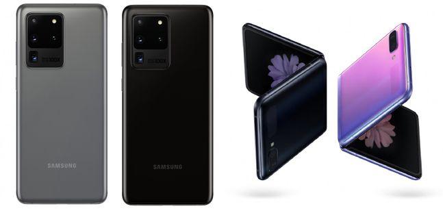 삼성전자 상반기 플래그십 스마트폰 '갤럭시S20 울트라'(왼쪽)와 폴더블 스마트폰 '갤럭시Z 플립'.ⓒ삼성전자