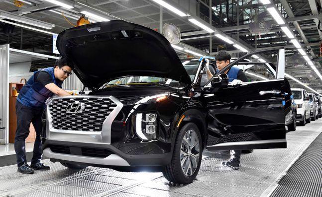 현대자동차 울산공장에서 팰리세이드가 생산되고 있다. ⓒ현대자동차.