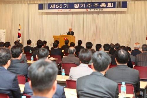 지난해 3월 15일 서울 신대방동 농심 본사에서 진행된 제55기 정기 주주총회에서 박준 대표이사가 인사말을 하고 있다.ⓒ농심