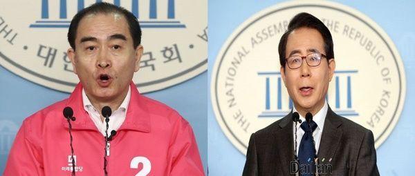 서울 강남갑 태영호 미래통합당 후보와 김성곤 더불어민주당 후보 ⓒ데일리안