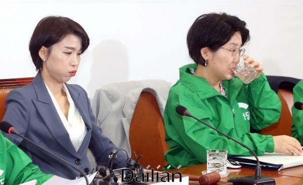 18일 오전 국회에서 열린 민생당 최고위원회의에서 김정화 공동대표가 한 숨을 몰아쉬는 가운데 박주현 공동대표가 물을 마시고 있다. ⓒ데일리안 박항구 기자