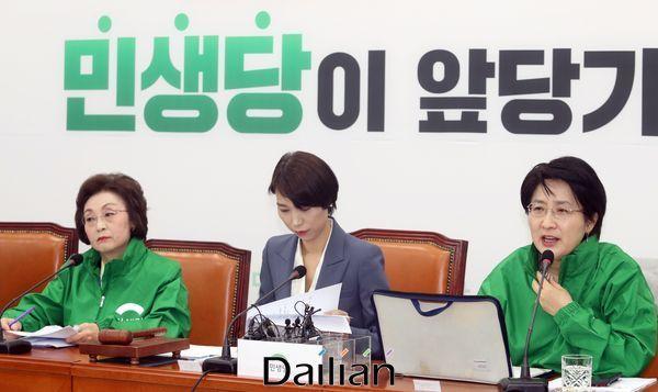 박주현 민생당 공동대표가 18일 오전 국회에서 열린 최고위원회의에서 모두발언을 하고 있다.ⓒ데일리안 박항구 기자