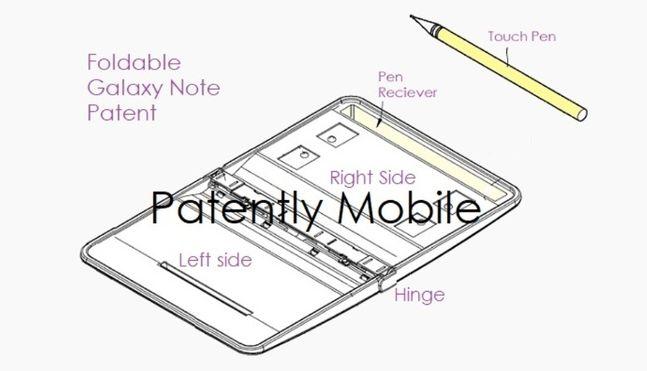 삼성전자가 미국 특허청으로부터 특허를 획득한 폴더블 갤럭시노트 스케치. 패턴틀리 모바일 홈페이지 캡처
