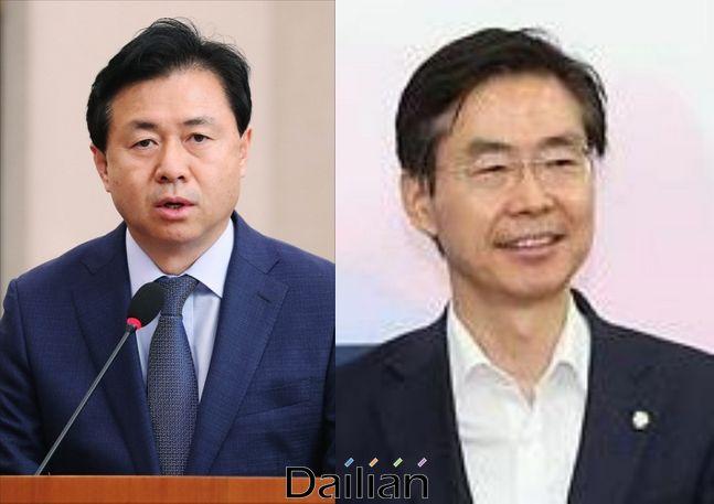 김영춘 더불어민주당 부산 상임선대위원장과 조경태 미래통합당 부산 공동선대위원장ⓒ데일리안 DB