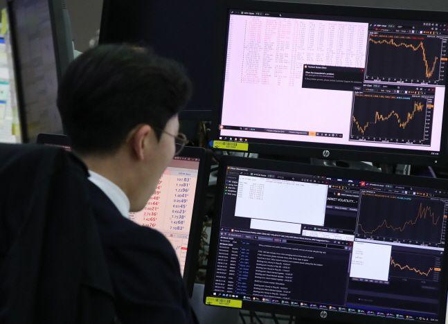 서울 중구 을지로 하나은행 딜링룸에서 딜러들이 업무를 보고 있다.ⓒ뉴시스