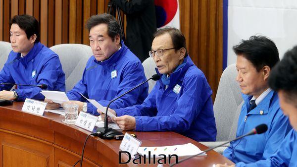 이해찬 대표가 선대위 회의에서 모두발언을 하고 있다. ⓒ데일리안 박항구 기자