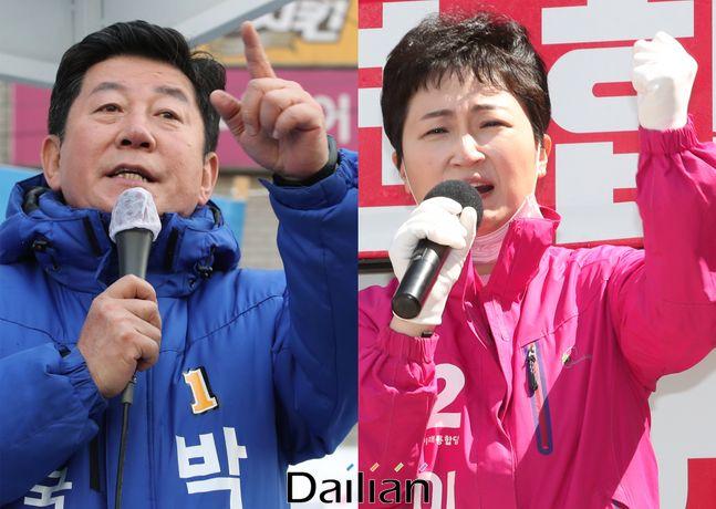 제21대 국회의원 선거 공식 선거운동 첫 주말인 4일 오후 부산 남구 용호동에 박재호 더불어민주당 후보와 이언주 미래통합당 후보가 유세를 하고 있다. ⓒ데일리안 류영주 기자