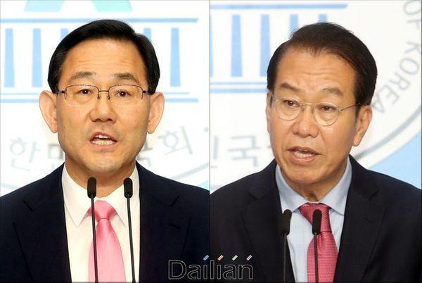 미래통합당 21대 국회 첫 원내대표 경선에 출마한 주호영 의원과 권영세 당선인. ⓒ데일리안 박항구 기자