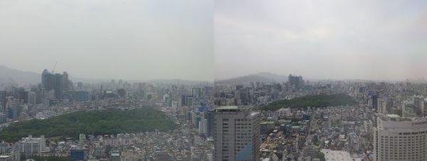 LG전자 전략 스마트폰 'LG 벨벳'으로 촬영한 서울 시내의 모습. 각각 망원(왼쪽), 광각 카메라 사용.ⓒ데일리안 김은경 기자