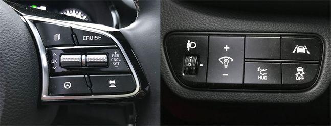 핸들에 달린 차로 유지 보조(LFA) 버튼(핸들 모양)과 핸들 왼쪽에 달린 차선이탈방지 보조(LKA) 버튼(차 좌우로 차선이 있는 모양). 두 기능의 차이는 현격하다. ⓒ데일리안 박영국 기자
