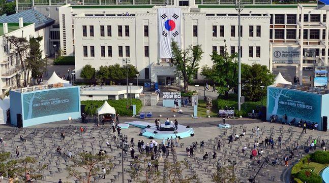 옛 전남도청 앞에서 40주년 5.18민주화운동 기념식 리허설을 진행 중인 모습. ⓒ뉴시스