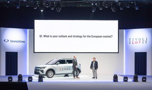 쌍용자동차가 13일 유럽 시장을 타깃으로 티볼리 G1.2T 온라인 출시 행사를 진행하고 있다. ⓒ쌍용자동차