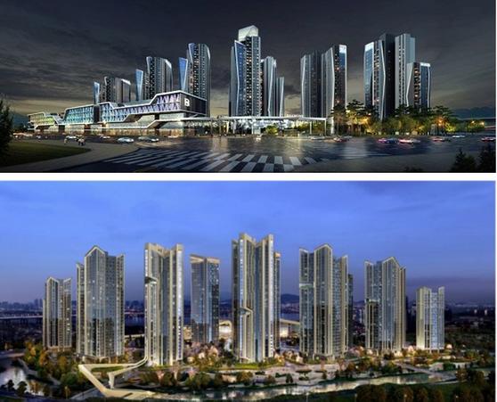 삼성물산이 제안한 반포3주구 재건축 아파트 투시도(위), 대우건설이 제안한 투시도(아래) ⓒ각사