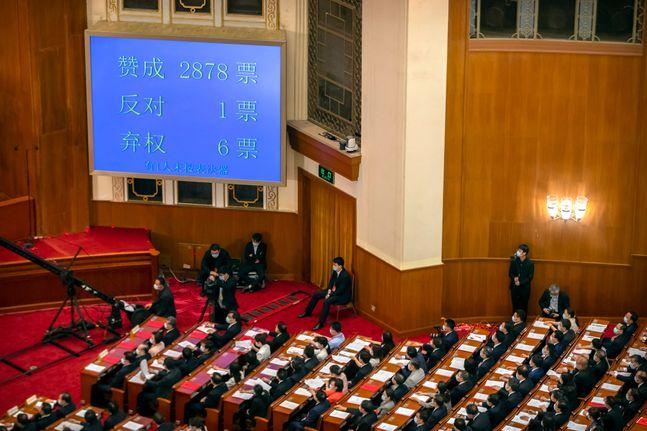 WLSKSEKF 28일 중국 베이징 인민대회당에서 13기 전국인민대표대회(전인대) 3차 전체회의 폐막식이 열리는 가운데 홍콩보안법 표결 결과가 현광판에 표시되고 있다. 홍콩보안법은 찬성 2878표 반대 1표, 기권 6표로 통과됐다.ⓒAP/뉴시스