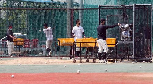 서울 한 고등학교에서 야구부 학생들이 마스크를 쓰고 서로 간의 거리를 유지하며 훈련하고 있다. ⓒ 연합뉴스