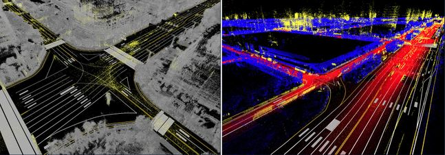 네이버랩스가 자체 구축한 서울 여의도와 마곡 지역 HD맵.ⓒ네이버랩스