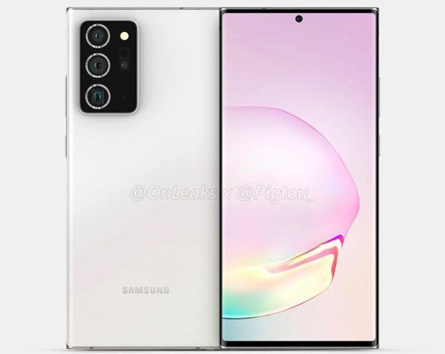 삼성전자 스마트폰 '갤럭시노트20' 예상 렌더링.ⓒ피그토우