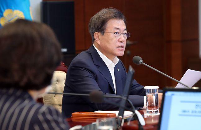 문재인 대통령이 22일 청와대 여민관에서 열린 제6차 공정사회 반부패정책협의회에 참석해 모두발언을 하고 있다. ⓒ뉴시스