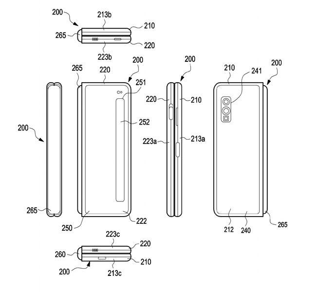 삼성전자의 '플렉서블 디스플레이와 힌지 구조를 포함하는 전자장치' 관련 특허 도면. 세계지식재산권기구(WIPO) 캡처