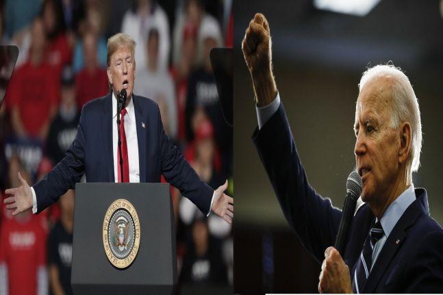 도널드 트럼프(왼쪽) 대통령과 민주당 대선후보 조 바이든.ⓒ뉴시스