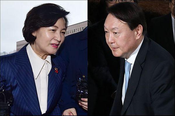 추미애 법무부 장관(왼)과 윤석열 검찰총장(오).ⓒ데일리안 홍금표 기자